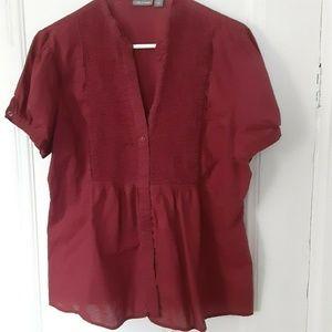 Apt 9 burgundy smocked blouse short sleeves cotton
